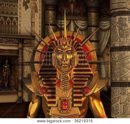 Pharaoh Statue In Burial Chamber