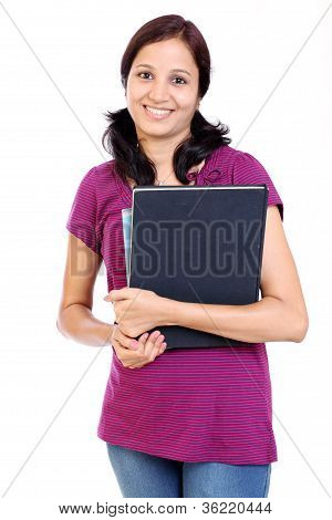 Indian Female Student Holding Books
