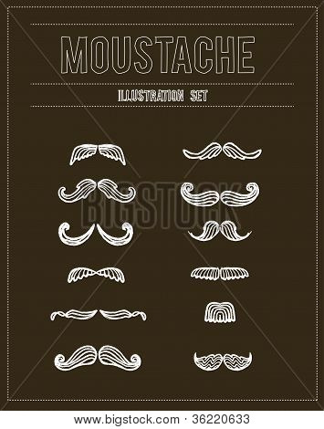 Mustaches sketch doodle vector set