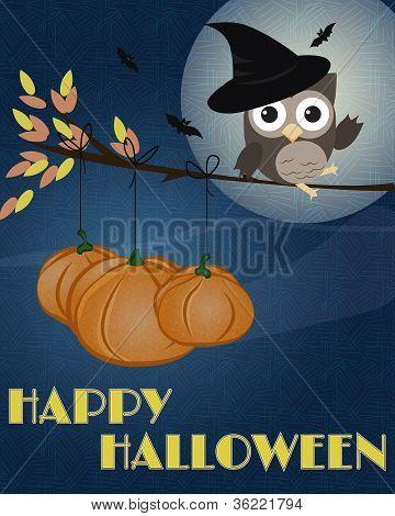 Coruja feliz Dia das bruxas