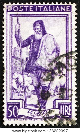 Postage stamp Italy 1950 Shepherd and Flock, Sardegna