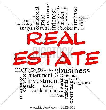 Real Estate Word Cloud Concept In Red & Black
