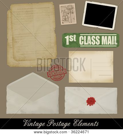 Set Of Vintage Postage  Elements