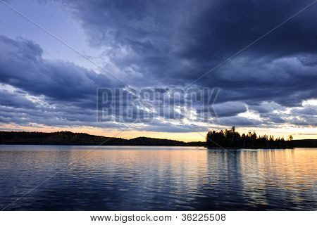 Dramatic Sunset At Lake