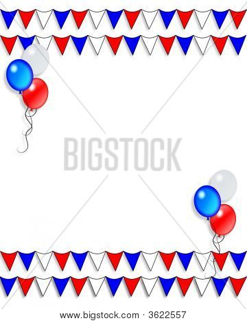 Patriotic Flags And Balloons Border