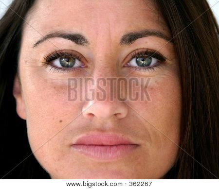 Close Up Face Of Attractive Spanish Woman