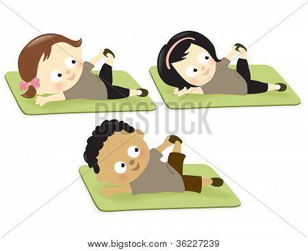 Kids exercising on mats