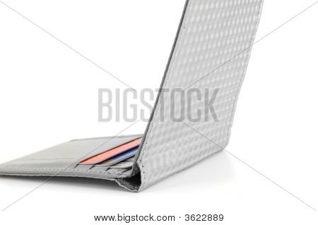 Thin Grey Wallet With Credit Cards