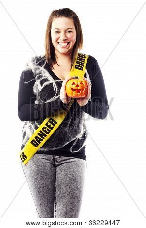 Young Woman Dressed In Halloween Costume