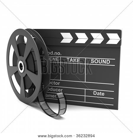 Movie clapper and film strip