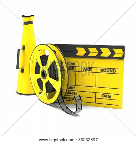 Movie clapper, megaphone and film strip