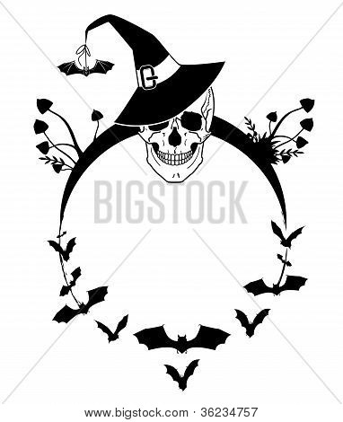 Halloween Illustration With Skull And Bats