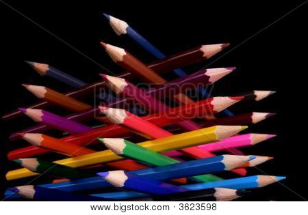 Colorful Pencils Tower Bottom View