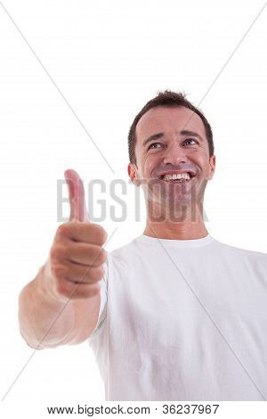Handsome Middle-age Man With Thumb Raised As A Sign Of Success, Isolated On White Background. Studio