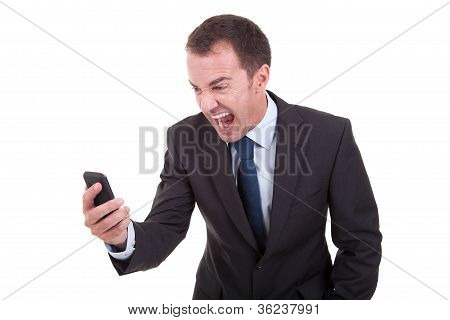 Businessman Sreaming On The Phone, Isolated On White Background