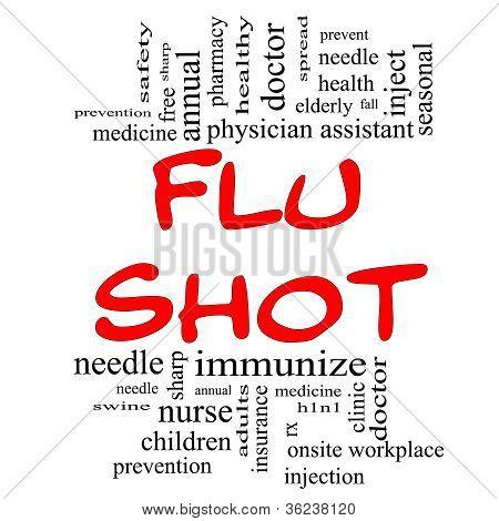 Flu Shot Word Cloud Concept In Red & Black