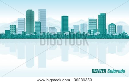 Denver Colorado Detailed Vector Skyline