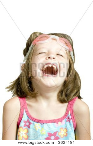 Little Girl With Goggles Laughing