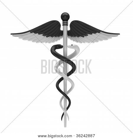 Black and white caduceus medical symbol
