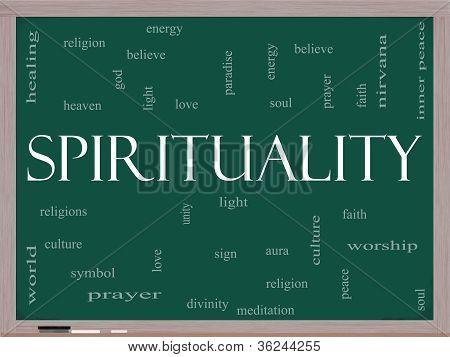 Spirituality Word Cloud Concept On A Blackboard
