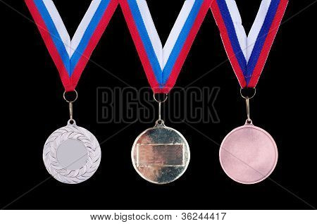 Three Medals, Gold, Silver And Bronze