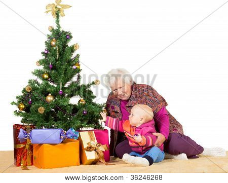 Granny And Baby With Christmas Tree