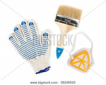 Pair Of Cotton Gloves, Paint Brush And A Dust Mask