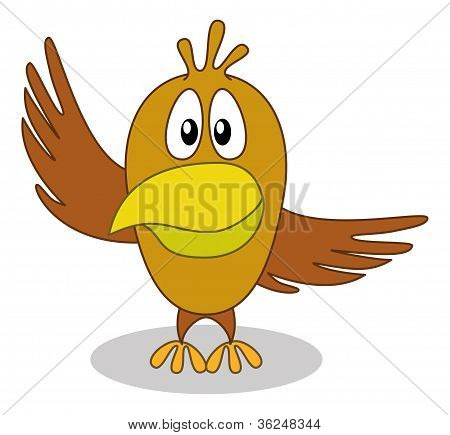 Bird with pointing wing