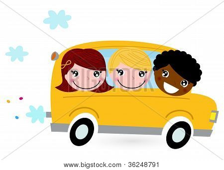 Yellow School Bus With Kids Isolated On White