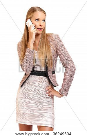 Nice Blonde Employe Making A Phonecall