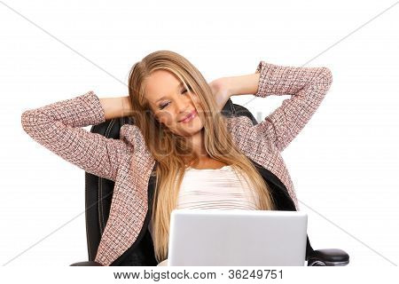 Closeup Portrait Of A Relaxing Businesswoman