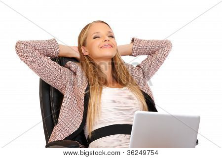 Happy Businesswoman Relaxing