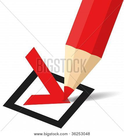 Pencil making a tick in checkbox
