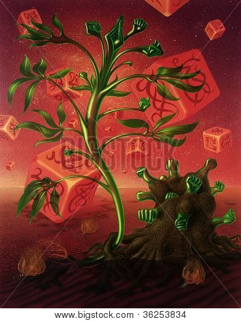 Surreal Picture With Dice And Plants