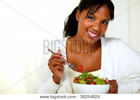 Lovely Young Female Enjoying Fresh Vegetable Salad