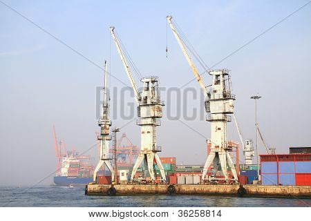 Large, seaport cranes
