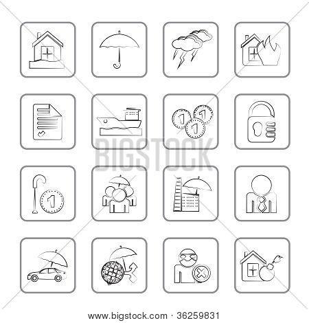 Versicherung und Risikomanagement-Symbole