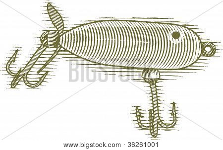 Woodcut Fishing Lure