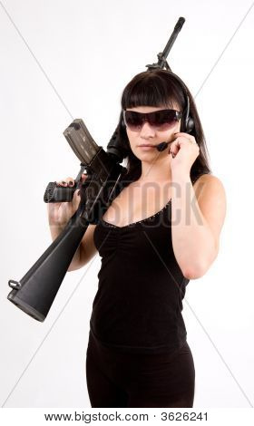 Girl In Black Dress With Gun