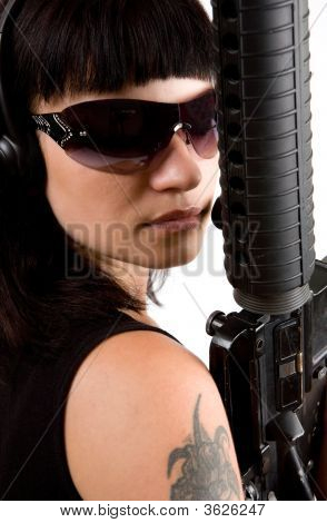Girl In Black With Gun
