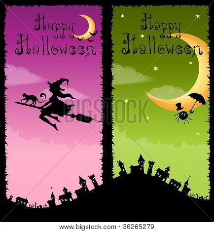 colorful vertical banners with Halloween theme