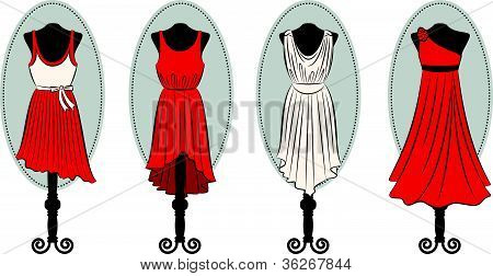 Fashionable dresses with lace ornaments. Vector set