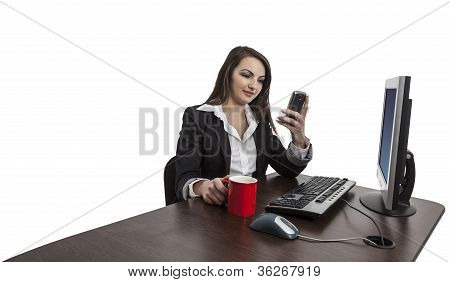 Businesswoman Checking Her Mobile