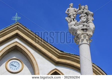 Holy Trinity Sculpture And Church Detail, Ljubljana