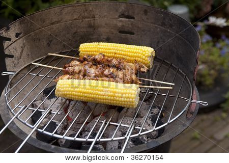 Barbecue With Corn And Satay