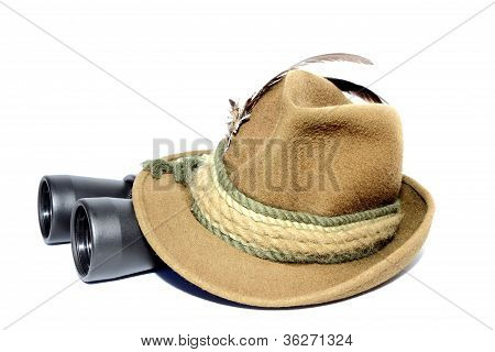 Binoculars Covered By Hat