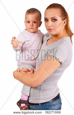 Happy Mom Hold Sad Girl