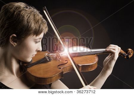 Teenage Girl And Singing Strings Violin