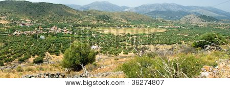 Panoramic View On Mountain Village In Suuny Day