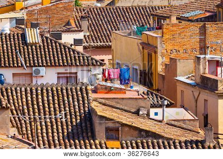 High-contrast Picture Of A Spanish Town Roof Landscape